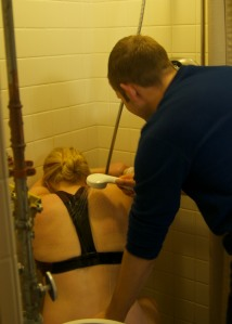 labor in shower